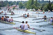 Henley on Thames, England, United Kingdom, 3rd July 2019, Henley Royal Regatta  Congestion as crews move down the course, Henley Reach, [© Peter SPURRIER/Intersport Image]<br />