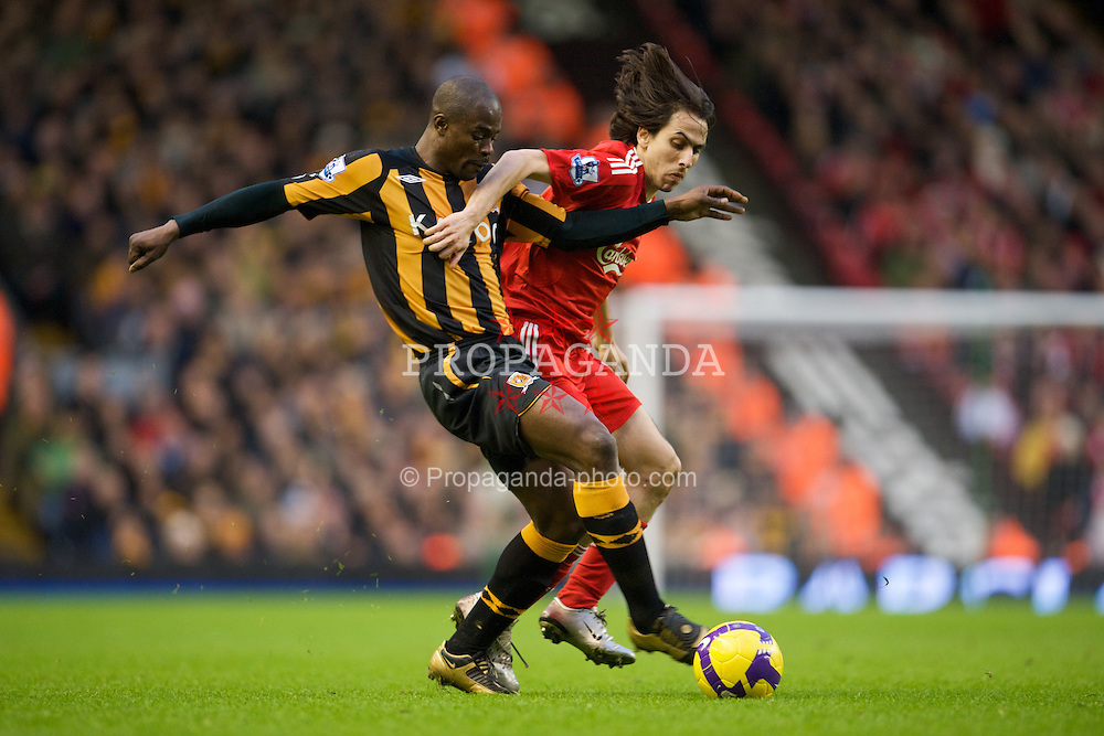 LIVERPOOL, ENGLAND - Saturday, December 13, 2008: Liverpool's Yossi Benayoun and Hull City's George Boateng during the Premiership match at Anfield. (Photo by David Rawcliffe/Propaganda)