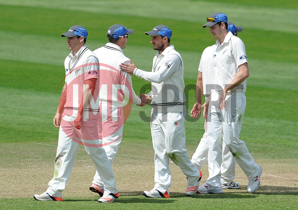 Thew New Zealand players shake hands after their victory over Somerset. Photo mandatory by-line: Harry Trump/JMP - Mobile: 07966 386802 - 11/05/15 - SPORT - CRICKET - Somerset v New Zealand - Day 4 - The County Ground, Taunton, England.