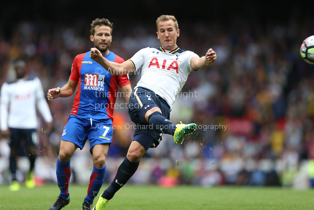 Harry Kane of Tottenham Hotspur has a shot at goal. Premier league match, Tottenham Hotspur v Crystal Palace at White Hart Lane in London on Saturday 20th August 2016.<br /> pic by John Patrick Fletcher, Andrew Orchard sports photography.