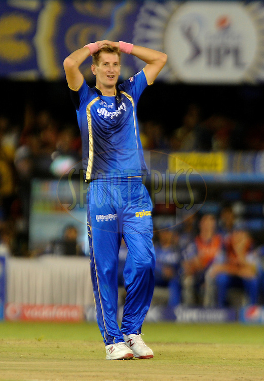 Christopher Morris of Rajasthan Royals reacts as he bowls during match 22 of the Pepsi IPL 2015 (Indian Premier League) between The Rajasthan Royals and The Royal Challengers Bangalore held at the Sardar Patel Stadium in Ahmedabad , India on the 24th April 2015.<br /> <br /> Photo by:  Pal Pillai / SPORTZPICS / IPL