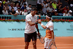 May 6, 2019 - Madrid, Spain - Successful start for  Juan Martin Del Potro (ARG) and in doubles in his match against Fognini (ITA)  and Robert Lindstedt (SWE) during day three of the Mutua Madrid Open at La Caja Magica in Madrid on 6th May, 2019. (Credit Image: © Juan Carlos Lucas/NurPhoto via ZUMA Press)