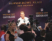 1/28/13 New Orleans LA.-Baltimore Ravens Head Coach John Harbaugh speaks to the wolrd media during Media Day for Super Bowl XLV11 at the the Mercedes Benz Super Dome for the NFC champion San Francisco 49ers's and the AFC Champions  Baltimore Ravens  prior to Super Bowl XLV11 in New Orleans. Photo©Suzi Altman