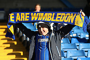 AFC Wimbledon football fans, football supporters prior the The Emirates FA Cup 1st Round match between Bury and AFC Wimbledon at the JD Stadium, Bury, England on 5 November 2016. Photo by Stuart Butcher.