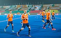 LUCKNOW (India) -  Morris de Vilder (NED) met links Bram van Groesen(NED)   voor de oefenwedstrijd tegen Korea voor de Junior  World Cup hockey men . COPYRIGHT KOEN SUYK