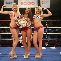 "The Telemundo Ring Girls pose prior to a ""Boxeo Telemundo""  boxing match at the Kissimmee Civic Center on Friday, July 18, 2014 in Kissimme, Florida.  (AP Photo/Alex Menendez)"