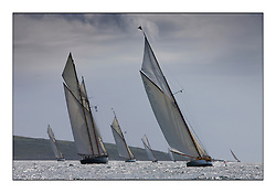The fleet head past Inchmarnock with Mariette 1915 Gaff Schooner and The Lady Anne 1912 a 15 metre..* The Fife Yachts are one of the world's most prestigious group of Classic  yachts and this will be the third private regatta following the success of the 98,  and 03 events.  . .Marc Turner / PFM Pictures