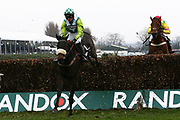 Third placed Second placed Clan Des Obeaux and Harry Cobden clear the last fence inThe Betway Bowl Steeple Chase Race at Aintree, Liverpool, United Kingdom on 12 April 2018. Picture by Craig Galloway.