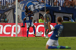 August 19, 2018 - Lisbon, Portugal - Belenenses' forward Alhassane Keita of Guinea Conakry (50) celebrates with teammates after scoring during the Portuguese League football match Belenenses vs FC Porto at the Jamor stadium in Lisbon on August 19, 2018. (Credit Image: © Pedro Fiuza via ZUMA Wire)