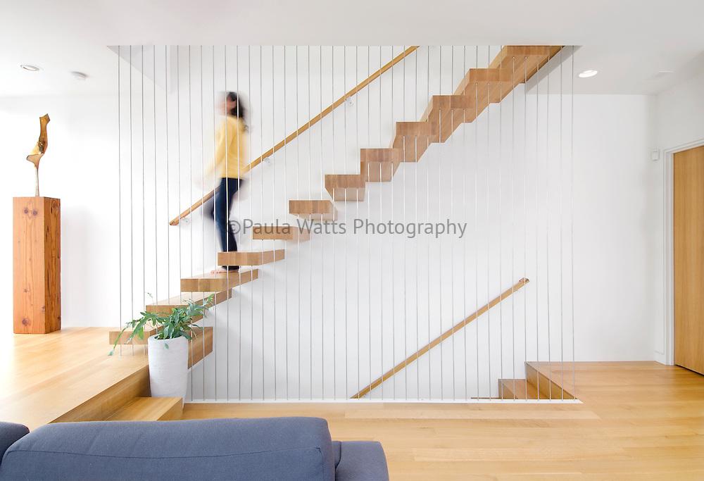 Unique Suspension staircase in modern minimalist residence in Portland Oregon