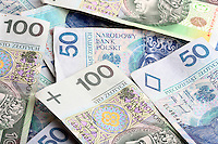 Polish currency on white background