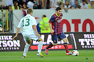 Lionel Messi of Barcelona in action while friendly soccer match between Lechia Gdansk and FC Barcelona on PGE Arena Stadium in Gdansk, Poland.<br /> <br /> Poland, Gdansk, July 30, 2013<br /> <br /> Picture also available in RAW (NEF) or TIFF format on special request.<br /> <br /> For editorial use only. Any commercial or promotional use requires permission.<br /> <br /> Photo by © Adam Nurkiewicz / Mediasport