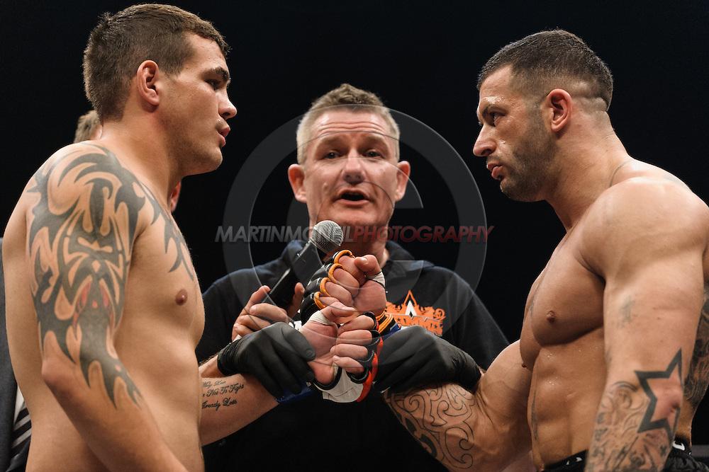 BIRMINGHAM, ENGLAND, SEPTEMBER 10, 2011: Mixed martial arts action during BAMMA 7 inside the NIA Arena in Birmingham, England on September 10, 2011.
