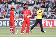 Lancashires Karl Brown & Lancashires Alex Davies during the Vitality T20 Blast North Group match between Lancashire Lightning and Birmingham Bears at the Emirates, Old Trafford, Manchester, United Kingdom on 10 August 2018.
