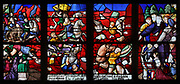Moses crossing the Red Sea, with the sea depicted in the colour red, stained glass window, 16th century, Renaissance, possibly by the workshops of Nijmegen Arnolt (Arnold van Nijmegen), Dutch master glassmaker, in the Chapelle Saint Gilles in the Eglise Notre-Dame de Caudebec-en-Caux, a Flamboyant Gothic catholic church built 15th and 16th centuries, in Caudebec-en-Caux, Normandy, France. The church is listed as a historic monument. Picture by Manuel Cohen