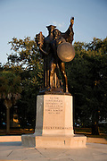 Statue dedicated to the Confederate defenders of Charleston against Fort Sumter during the Civil War at White Point Gardens in historic Charleston, SC.