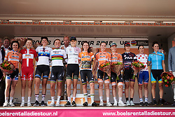 The celebrated riders at Boels Ladies Tour 2018 - Stage 6, an 18.6km individual time trial in Roosendaal, Netherlands on September 2, 2018. Photo by Sean Robinson/velofocus.com