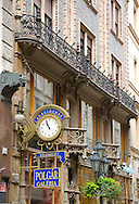 The ornate facade of a building inVaci Street, a pedestrian shopping area in the Pest side of Budapest, Hungary