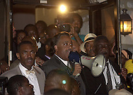Rev. Al Sharpton, center, with bullhorn,  speaks at a protest of the July 12 beating of Thomas Jones by city police officers attempting to arrest the carjacking suspect, Sunday, July 23, 2000, in Philadelphia. The beating incident was videotaped by a local television station helicopter, and broadcast around the world, shedding a bad light on the city of Philadelphia two weeks before the Republican National Convention. MANDATORY CREDIT: (Photo by William Thomas Cain/Photojournalist.cc)