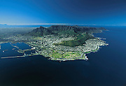 Helicopter view of Cape Town, Table Mountain and the Cape of Good Hope (in background r.).