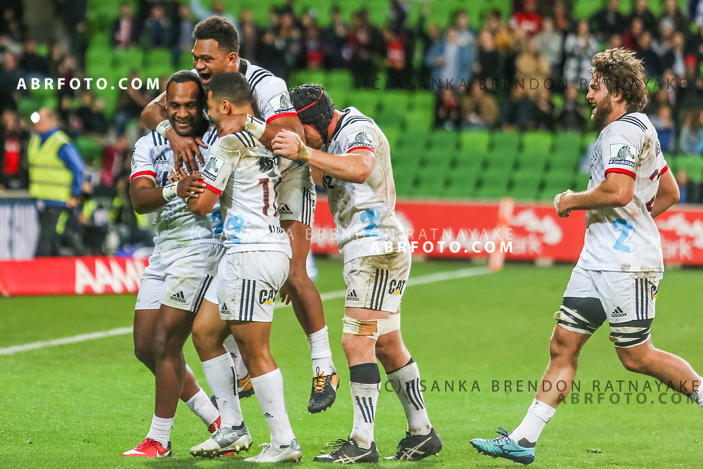 Crusaders celebrate a Manasa Mataele try at the end during Rebels v Crusaders, 2018 Super Rugby season, AAMI Park, Melbourne, Australia. 4 May 2018. Copyright Image: Brendon Ratnayake / www.photosport.nz