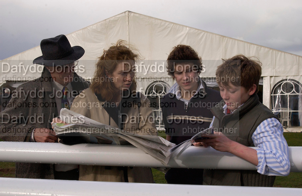 Merlin and Karen Unwin, Alexander Glanville and Tom Shuttleworth. Ludlow Charity Race Day,  in aid of Action Medical Research. Ludlow racecourse. 24 march 2005. ONE TIME USE ONLY - DO NOT ARCHIVE  © Copyright Photograph by Dafydd Jones 66 Stockwell Park Rd. London SW9 0DA Tel 020 7733 0108 www.dafjones.com
