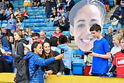 Katarina Johnson-Thompson (GBR) poses for a selfie with a fan during the Birmingham Grand Prix, Sunday, Aug 18, 2019, in Birmingham, United Kingdom. (Steve Flynn/Image of Sport via AP)