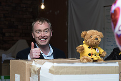© Licensed to London News Pictures . 14/02/2017 . Stoke-on-Trent , UK . Lib Dem leader TIM FARRON at the Liberal Democrat by-election base in the Wheatsheaf Pub on Sheaf Street , campaigning in the Stoke Central by-election . Photo credit : Joel Goodman/LNP
