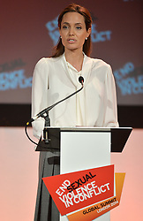Image ©Licensed to i-Images Picture Agency. 11/06/2014.<br /> <br /> Angelina Jolie speaks at the Global Summit to End Sexual Violence in Conflict at The ExCel, London, UK.<br /> <br /> Picture by Ben Stevens / i-Images