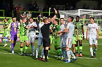 Football - 2020 / 2021 EFL League Two - Forest Green Rovers vs Bradford City<br /> <br /> Referee Will Finnie shows a red card to Bradford City's Paudie O'Connor (1st right) after pushing Forest Green Rovers' Ebou Adams, at the New Lawn Stadium<br /> <br /> COLORSPORT/ASHLEY WESTERN