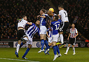 Sheffield Wednesday players clear a cross during the EFL Sky Bet Championship match between Sheffield United and Sheffield Wednesday at Bramall Lane, Sheffield, England on 9 November 2018.