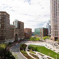The Rose Kennedy Greenway (built 2008) is a roughly 1.5-mile-long (2.4 km) long series of parks and public spaces being created in downtown Boston, Massachusetts, USA. It is the final part of the Big Dig that put Interstate 93 underground and removed the elevated freeway that served as the main highway through downtown for more than 40 years. The Greenway was named in honor of Kennedy family matriarch Rose Fitzgerald Kennedy, and officially dedicated on July 26, 2004..As the Greenway runs above an interstate highway, the Massachusetts Department of Transportation retains ownership of most of the land. The non-profit Rose Fitzgerald Kennedy Greenway Conservancy was created jointly by the former Massachusetts Turnpike Authority, the City of Boston, and the state to oversee maintenance, fundraising, and programming of the Greenway parks beginning in 2012 according to the original agreement signed in 2003 ..The Greenway officially opened on October 4, 2008. Wikipedia