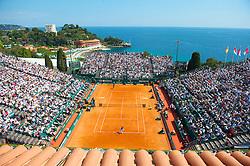 MONTE-CARLO, MONACO - Sunday, April 18, 2010: A general view of centre court as Rafael Nadal (ESP) takes on Fernando Verdasco (ESP) during the Men's Singles Final on day seven of the ATP Masters Series Monte-Carlo at the Monte-Carlo Country Club. (Photo by David Rawcliffe/Propaganda)