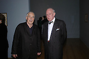 Howard Hodgkin and Andrew McIntosh Patrick. Turner Whistler Monet, exhibtion opening dinner, Tate Britain. 7 February 2005, ONE TIME USE ONLY - DO NOT ARCHIVE  © Copyright Photograph by Dafydd Jones 66 Stockwell Park Rd. London SW9 0DA Tel 020 7733 0108 www.dafjones.com