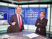 22 OCTOBER 2010 - PHOENIX, AZ: Terry Goddard talks with Brahm Resnik after a taping of Sunday Square Off at the KPNX studios in Phoenix, Friday, Oct 22. Goddard and Gov Brewer were invited to tape Sunday Square Off but Brewer chose not to. Goddard lost the election to sitting Governor Jan Brewer, a conservative Republican.     PHOTO BY JACK KURTZ