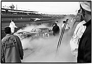 Daytona 2000 kilometer race • February 16, 1964 • Cobra Coupe after fire has been put out • co-drivers> Bob Holbert/Dave MacDonald • DNF