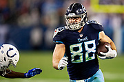 NASHVILLE, TN - DECEMBER 30:  Luke Stocker #88 of the Tennessee Titans runs the ball in for a touchdown during a game against the Indianapolis Colts at Nissan Stadium on December 30, 2018 in Nashville, Tennessee.  The Colts defeated the Titans 33-17.   (Photo by Wesley Hitt/Getty Images) *** Local Caption *** Luke Stocker