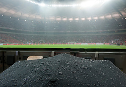 Water covers the umbrella at the stadium before the 2014 World Cup Qualifying Group H football match between Poland and England at National Stadium in Warsaw on October 16, 2012. The match was  postponed until tomorrow (October 17) 5 p.m...Poland, Warsaw, October 16, 2012..Picture also available in RAW (NEF) or TIFF format on special request...For editorial use only. Any commercial or promotional use requires permission...Photo by © Adam Nurkiewicz / Mediasport