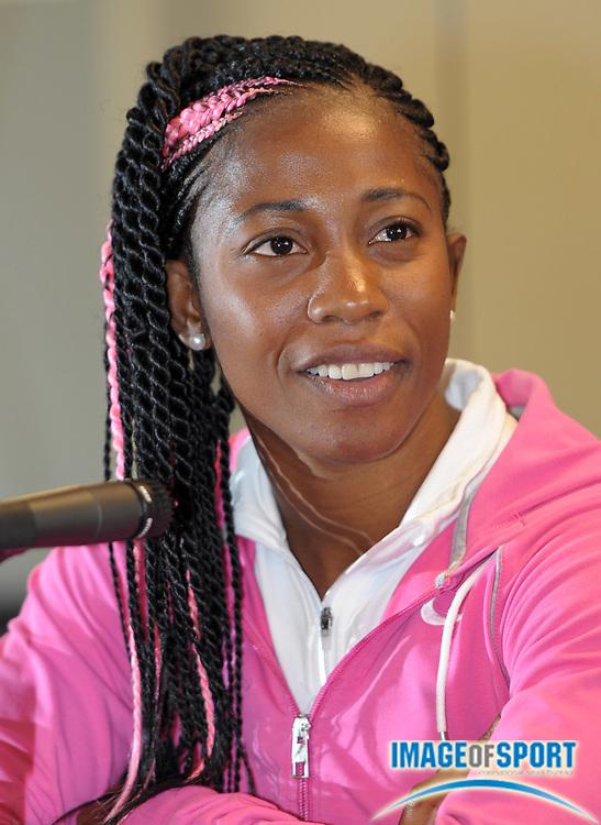 Apr 27, 2012; Philadelphia, PA, USA; Shelly Ann Fraser-Price (JAM) at the USA vs The World press conference at the 118th Penn Relays at George A. Weiss Atrium at Franklin Field.