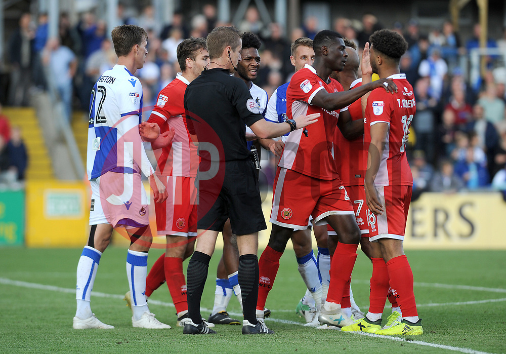 The game threatened to boil over in the final minutes - Mandatory by-line: Neil Brookman/JMP - 09/09/2017 - FOOTBALL - Memorial Stadium - Bristol, England - Bristol Rovers v Walsall - Sky Bet League One
