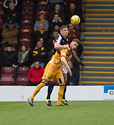 Dundee&rsquo;s Darren O&rsquo;Dea heads clear from Motherwell&rsquo;s Louis Moult - Motherwell v Dundee, Fir Park, Motherwell, Photo: David Young<br /> <br />  - &copy; David Young - www.davidyoungphoto.co.uk - email: davidyoungphoto@gmail.com