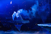 07.02.2014. Sochi, Russia.  Opening Ceremonies for the XXII Olympic Winter Games Sochi 2014. FISHT Stadium, Adler/Sochi, Russia Smoke billows from a crafted volcano