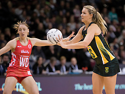 South Africa's Lenize Potgieter, right, passes the ball as England's Jade Clarke looks on in the Netball Quad Series netball match, ILT Stadium Southland, Invercargill, New Zealand, Sept. 3 2017.  Credit:SNPA / Adam Binns ** NO ARCHIVING**