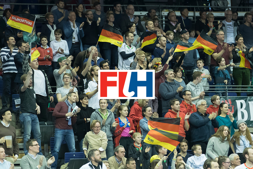 Hockey, Seizoen 2017-2018, 09-02-2018, Berlijn,  Max-Schmelling Halle, WK Zaalhockey 2018 MEN, Germany - Switzerland 3-0, German fans after teaching the semi finals Worldsportpics copyright Willem Vernes