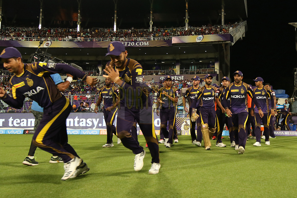 Kolkata KnightRiders players entering the field of play during match ten of the Vivo Indian Premier League 2018 (IPL 2018) between the Kolkata Knight Riders and the Sunrisers Hyderabad held at the Eden Gardens Cricket Stadium in Kolkata on the 14th April 2018.<br /> <br /> Photo by Saikat Das / IPL/ SPORTZPICS
