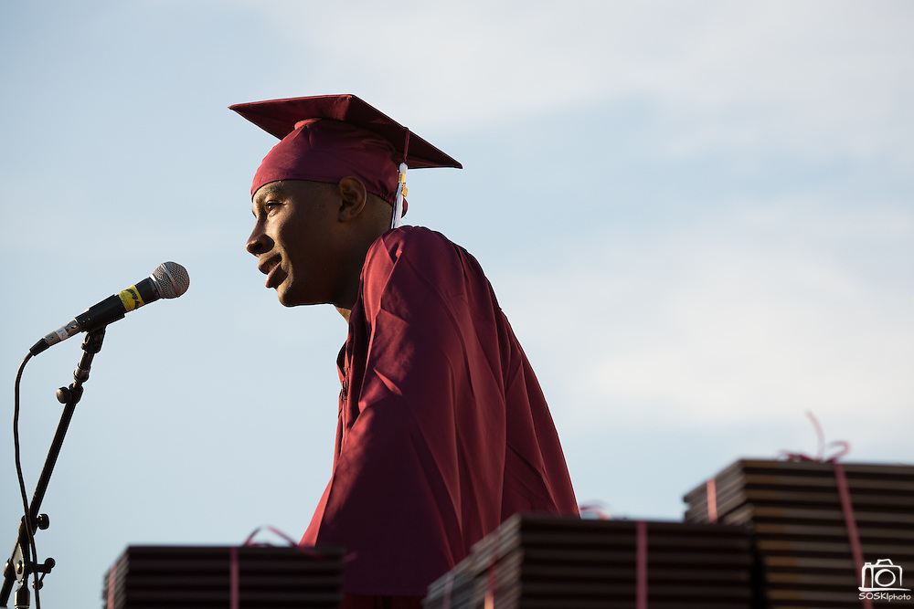 Cal Hills High School senior Myles Dillahunty speaks to the Cal Hills High School Class of 2013 during the graduation at the Milpitas Sports Center in Milpitas, California, on June 6, 2013. (Stan Olszewski/SOSKIphoto)