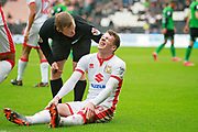 MK Dons Josh Tymon(20) is in pain during the EFL Sky Bet League 1 match between Milton Keynes Dons and Scunthorpe United at stadium:mk, Milton Keynes, England on 28 April 2018. Picture by Nigel Cole.