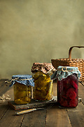 Photographs of Pickles for the Little House on the Prairie cookbook,