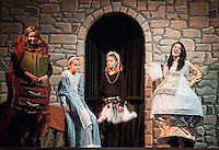"Madame de Grande Bouche (Ceci Zarella), Belle (Julie Auld), Babette (Jacqueline Nash) and Mrs. Potts (Kaelin Cegelski) during Gilford Middle School's dress rehearsal for ""Beauty and the Beast"" Tuesday afternoon.  (Karen Bobotas/for the Laconia Daily Sun)"