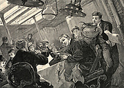 Dinner time in the first class dining salon of an Atlantic liner on a stormy day. Engraving 1890.